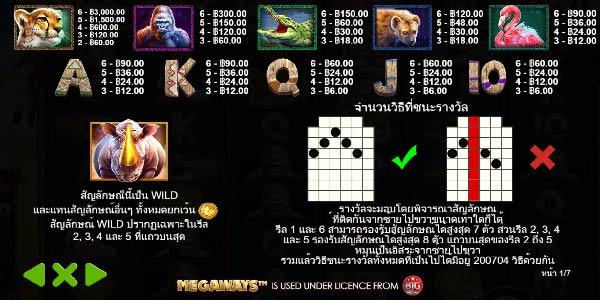 อัตราการจ่ายเงินสัญลักษณ์ เกมส์ Great Rhino